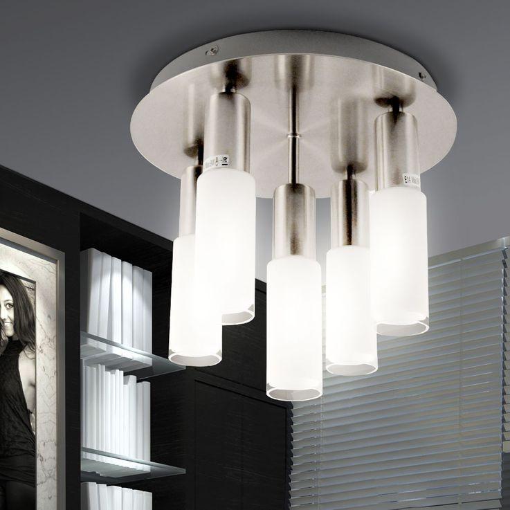 Plafonnier verre rond argenté Eclairage salle à manger 5x E14 ESL Eglo Samanta 90029 – Bild 2
