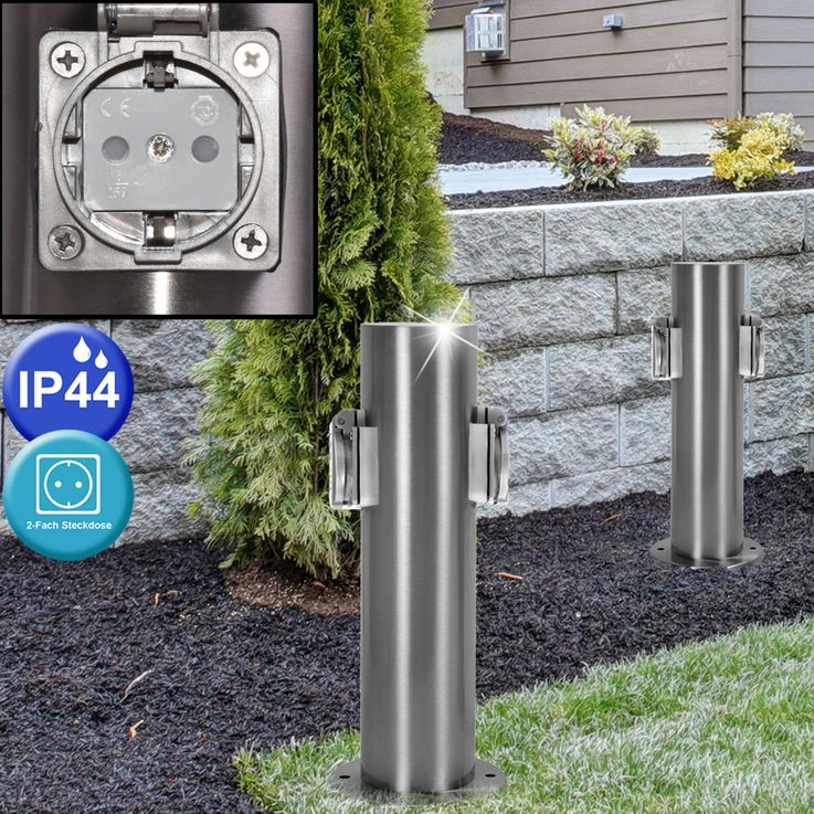 2 x outdoor outlet distribution terrace stainless steel garage IP44 pillar of hilight 103113 – Bild 4