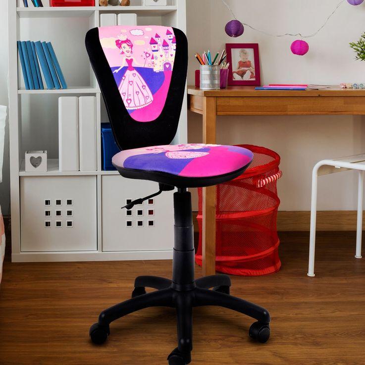 Kinder Mädchen Drehstuhl Büro Sitz Schreibtisch Spielzimmer Stuhl Prinzessin Motiv pink – Bild 2