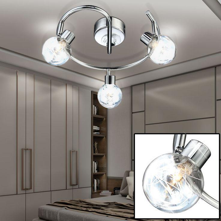 Éclairage plafonnier lampe 3 spots boules chrome verre luminaire plafond couloir – Bild 2