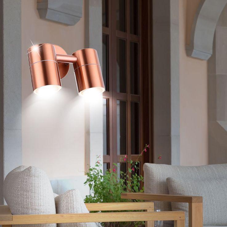 Sturdy outdoor lighting Wall lamp Copper colored Spotlight swivel Spot lamp Globo 32071-2 – Bild 3