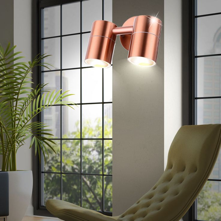 Sturdy outdoor lighting Wall lamp Copper colored Spotlight swivel Spot lamp Globo 32071-2 – Bild 4