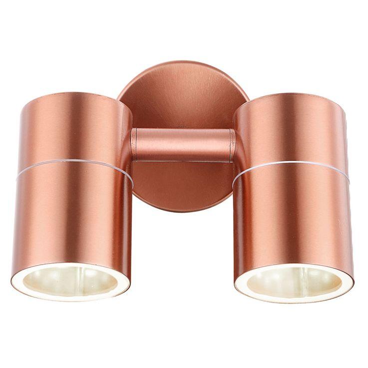Sturdy outdoor lighting Wall lamp Copper colored Spotlight swivel Spot lamp Globo 32071-2 – Bild 6