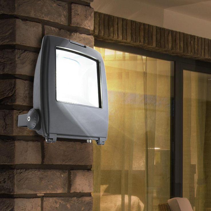 High-quality LED building lighting aluminium grey Diecast 100W - Globo 34222 clear glass – Bild 2