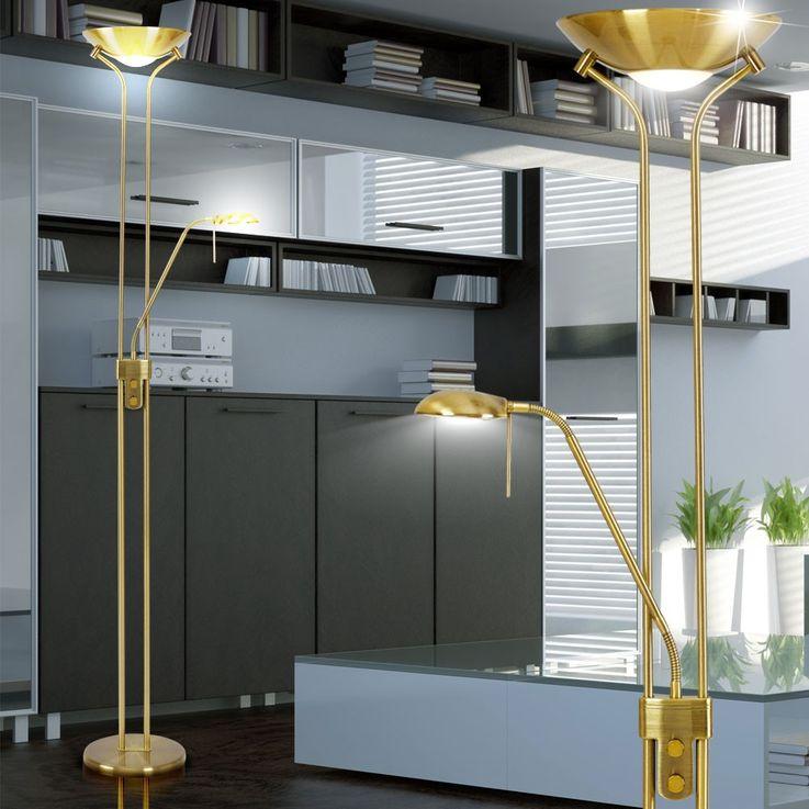 Decken Fluter Lese Lampe Steh Beleuchtung Licht Stand Leuchte Altmessing Globo 5809 – Bild 4