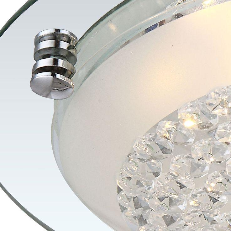 Éclairage plafonnier DEL 12W luminaire plafond lampe ronde verre cristaux clairs – Bild 5