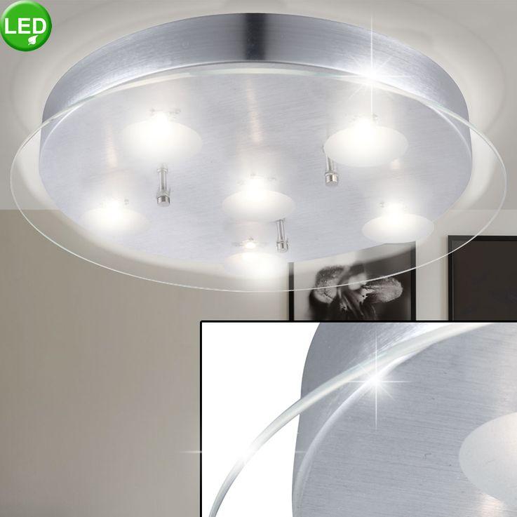 Plafonnier DEL 30 W luminaire plafond lampe salle de séjour plateau verre clair – Bild 2