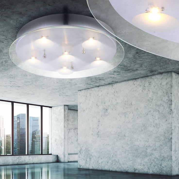 Ceiling lighting with satin glass aluminium – Bild 3
