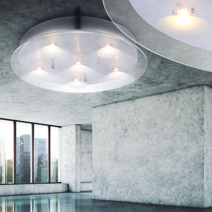 Plafonnier DEL 30 W luminaire plafond lampe salle de séjour plateau verre clair – Bild 3