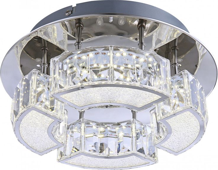 Ceiling LED luxury lamp crystal lamp living room lighting round chrome acrylic  Globo 49220-12 – Bild 1