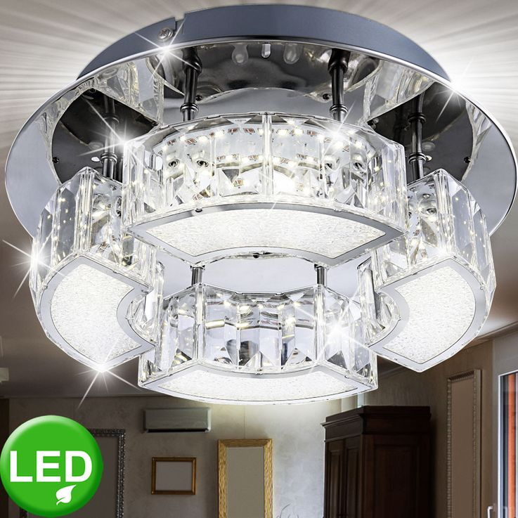 Decken LED Luxus Lampe Kristall Leuchte Wohn Zimmer Beleuchtung rund Chrom Acryl Globo 49220-12 – Bild 2