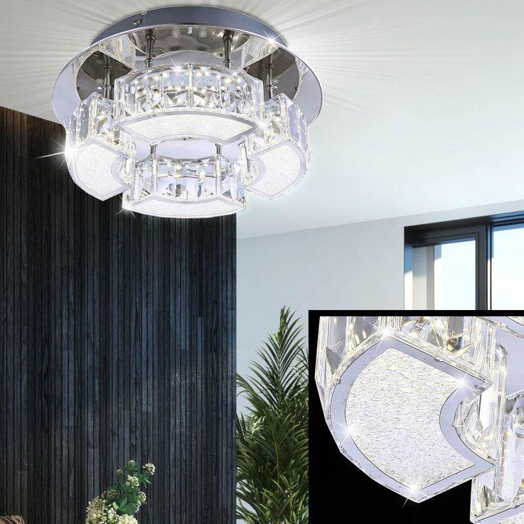 Decken LED Luxus Lampe Kristall Leuchte Wohn Zimmer Beleuchtung rund Chrom Acryl Globo 49220-12 – Bild 3