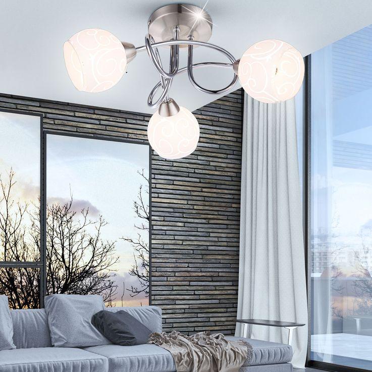 Éclairage plafonnier lampe verre ornaments 3 spots G9 luminaire plafond chambre – Bild 2