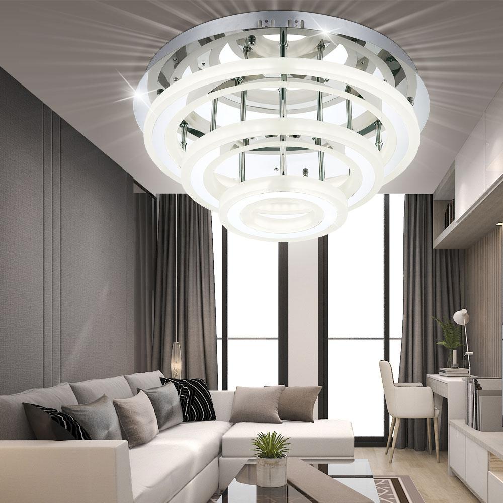 Moderne led deckenlampe aus acryl und chrom level i lampen for Moderne deckenlampe wohnzimmer