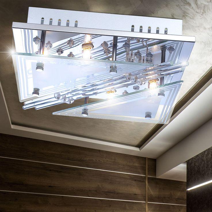 RGB LED ceiling lamp glass rods living room spotlight chrome light REMOTE CONTROL  Globo 68246-4 – Bild 3
