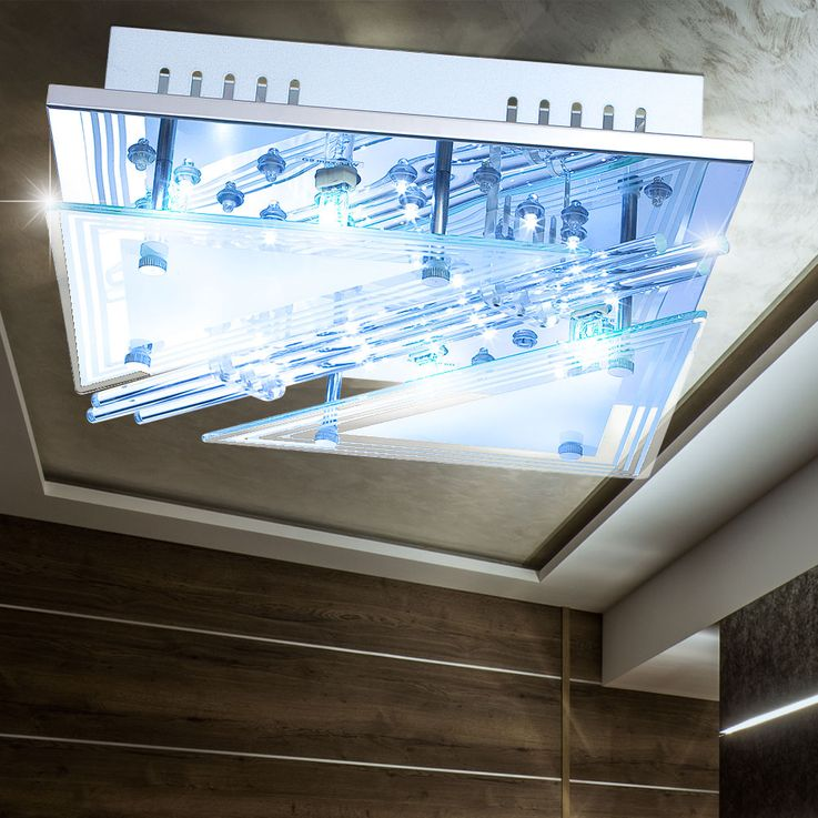 RGB LED ceiling lamp glass rods living room spotlight chrome light REMOTE CONTROL  Globo 68246-4 – Bild 4