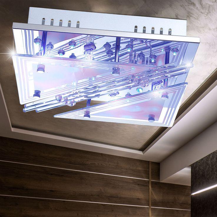 Lampe de plafond LED RGB tiges de verre salon spot lumière chromée REMOTE CONTROL  Globo 68246-4 – Bild 5