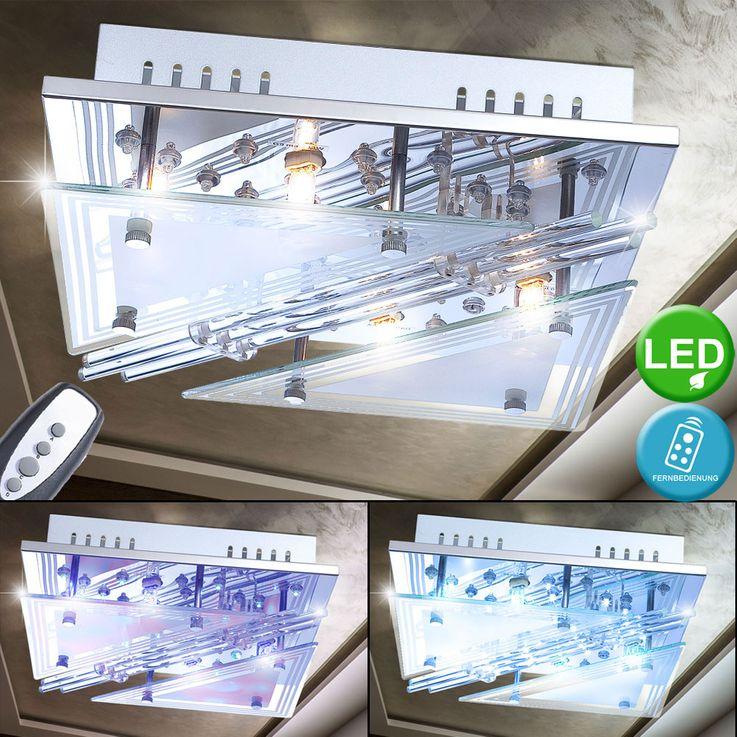 Lampe de plafond LED RGB tiges de verre salon spot lumière chromée REMOTE CONTROL  Globo 68246-4 – Bild 2