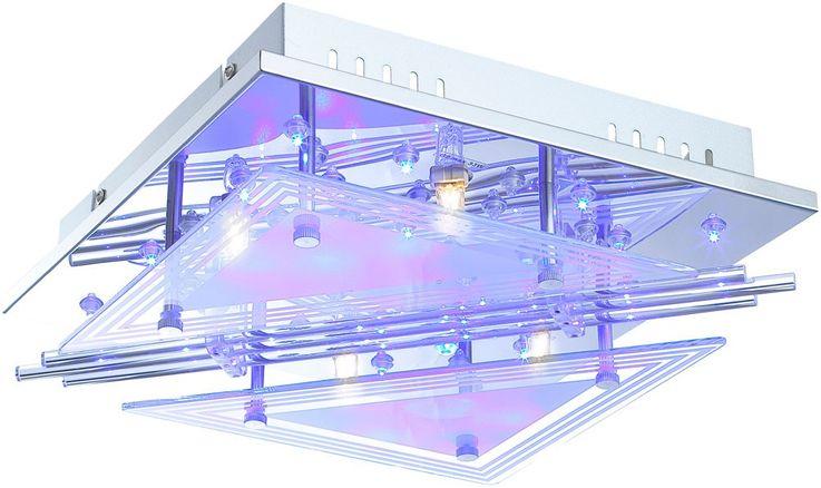 Lampe de plafond LED RGB tiges de verre salon spot lumière chromée REMOTE CONTROL  Globo 68246-4 – Bild 1