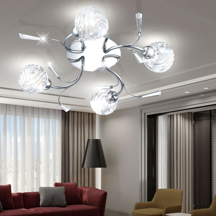 Elegant ceiling lamp with four spots from glass – Bild 2