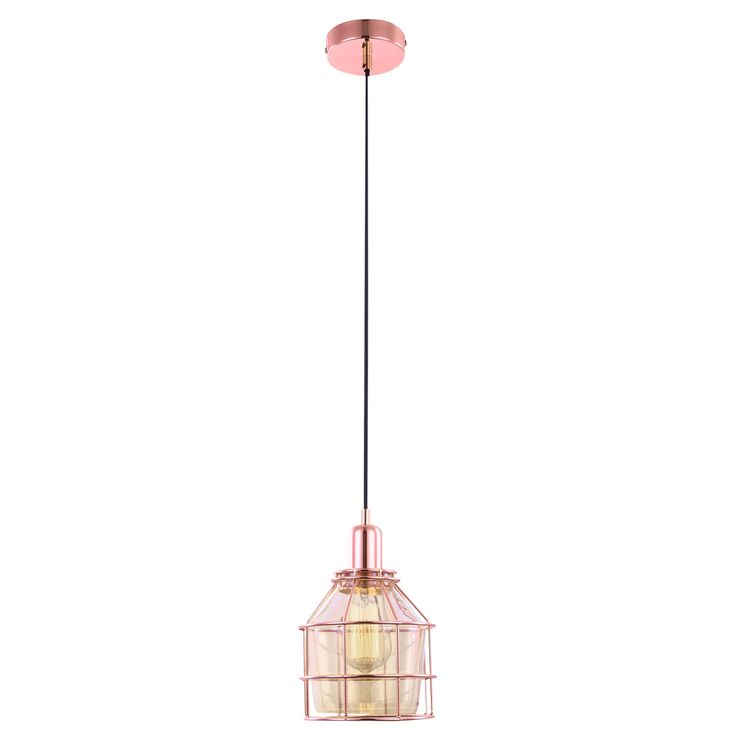Hanging lamp, glass, cage, copper  colors, DONNA – Bild 1