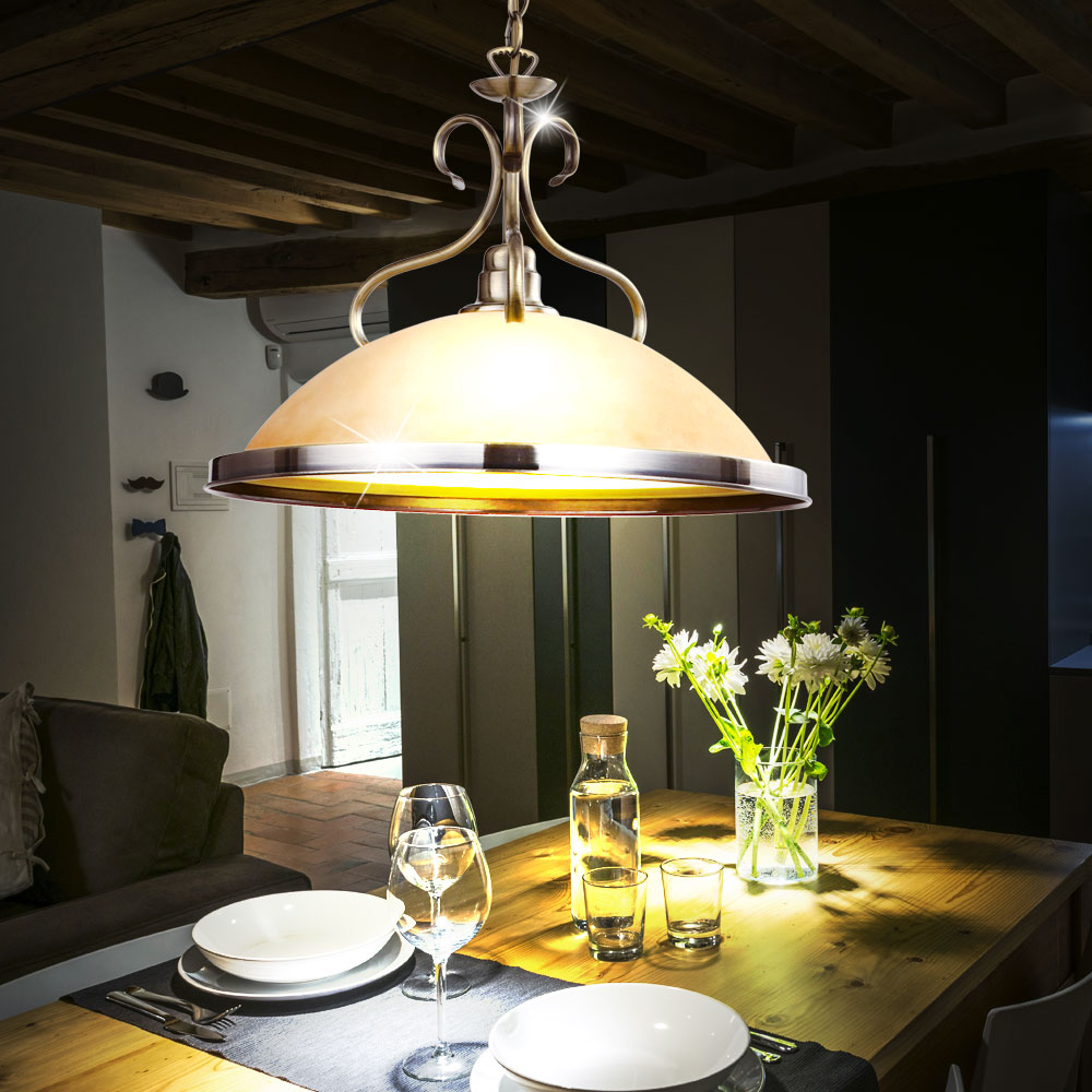 Elegante Decken Hänge Lampe Alt Messing Antik Pendel Leuchte amber Beleuchtung