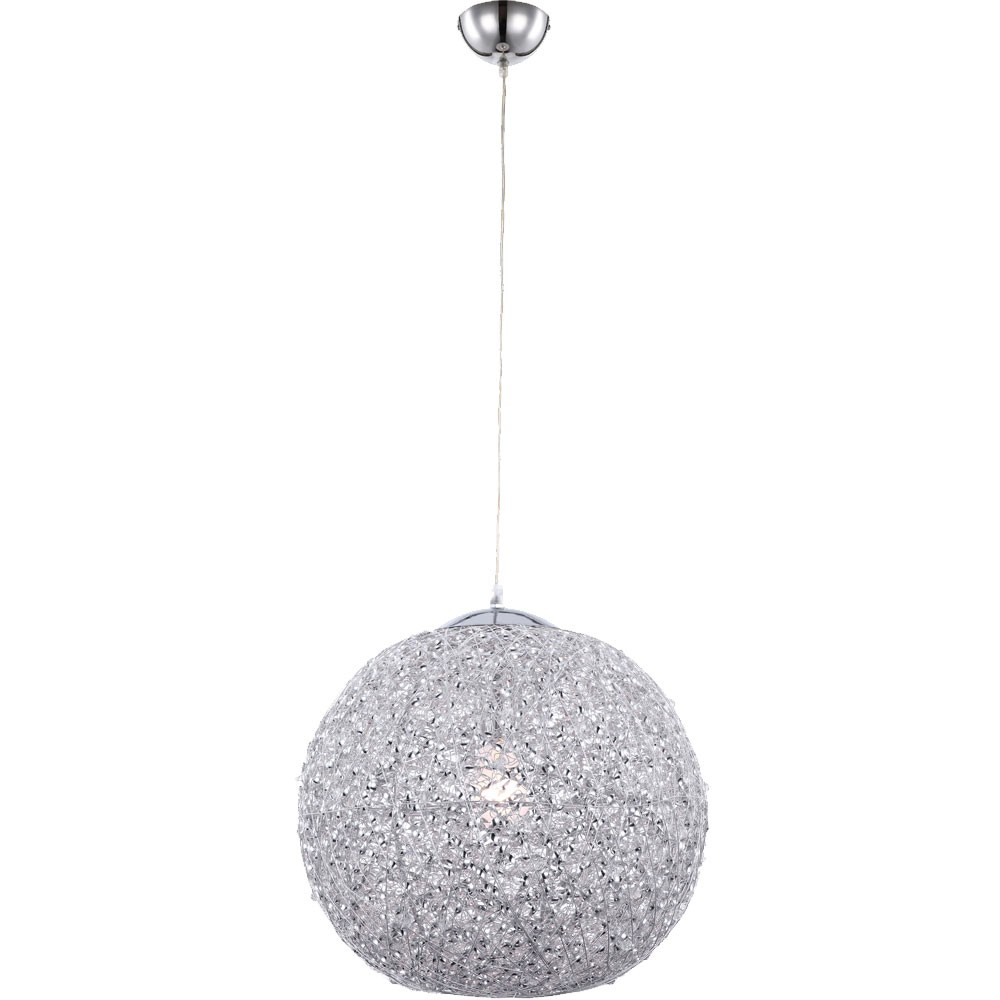 Deckenleuchte Kugel Geflecht Pendel Lampe Chrom Beleuchtung Wohnzimmer