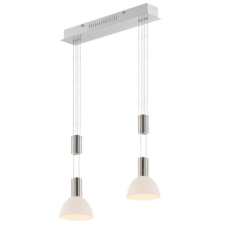 Lampe à suspension LED lampe nickel mat lampe de table à manger table en verre opale Globo 68037-2 – Bild 7