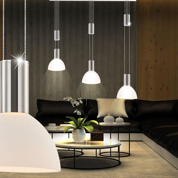 LED glass pendant ceiling lamp dimmable living room hanging lamp height adjustable  Globo 68037-3 – Bild 3