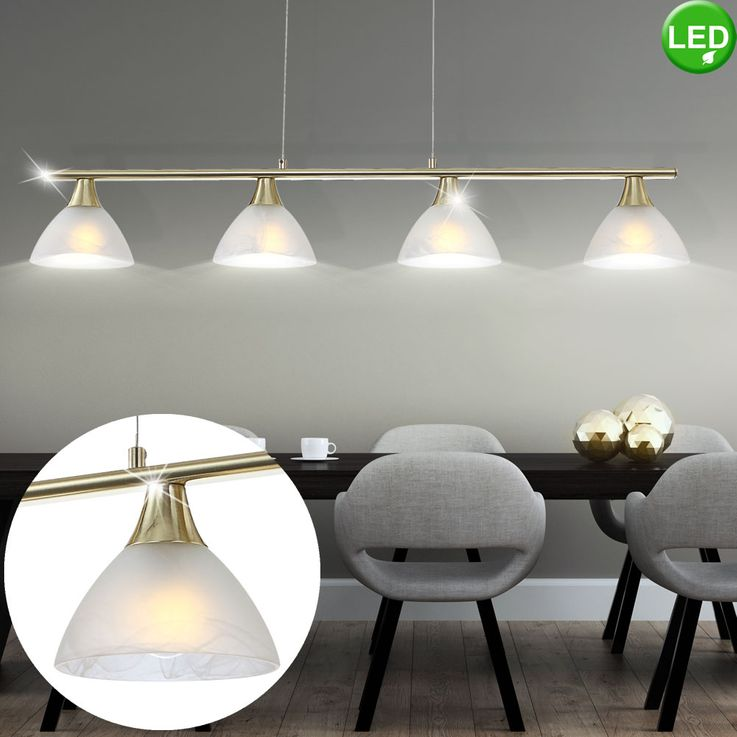 LED Brass Ceiling Pendant Lamp Living Room Lighting Alabaster Optics Glass Fixture  Globo 68619-4 – Bild 2