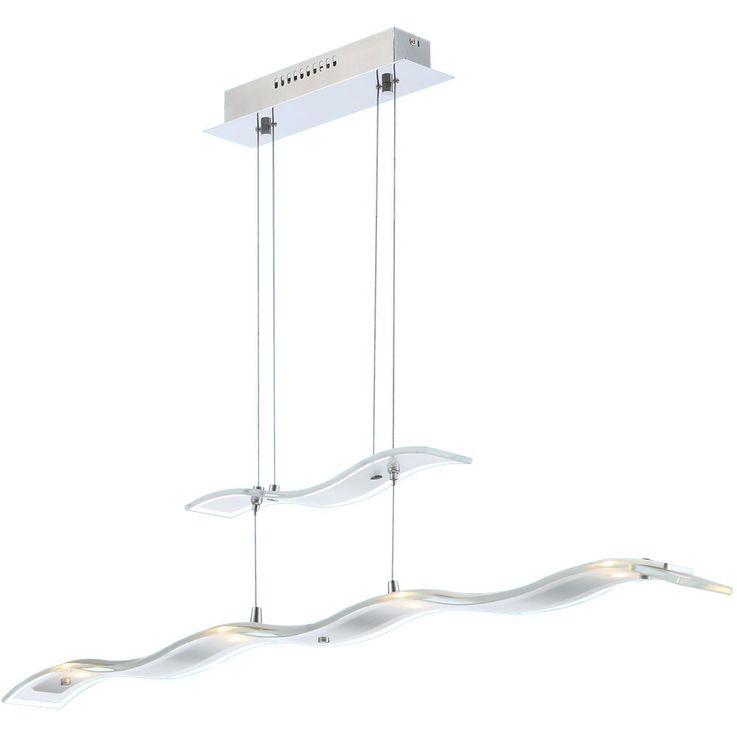LED 20 Watt Pendel Hänge Lampe 4-flammig Wohnzimmer Chrom Glas Leuchte Globo HUELVA 68084-4H  – Bild 4