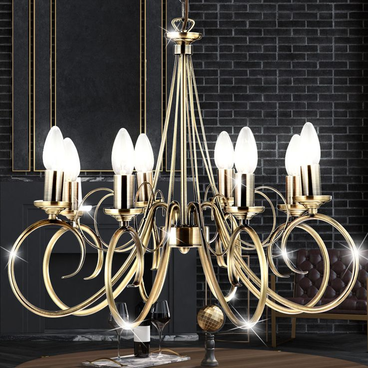 High quality chandelier antique brass pendant pendulum lamp chandelier ceiling lamp  Globo 69003-8 – Bild 3