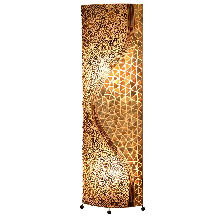Ceiling Flooding Mussel Mosaic Living Workroom Switch Lamp textile floor lamp brown Globo 25824 – Bild 1