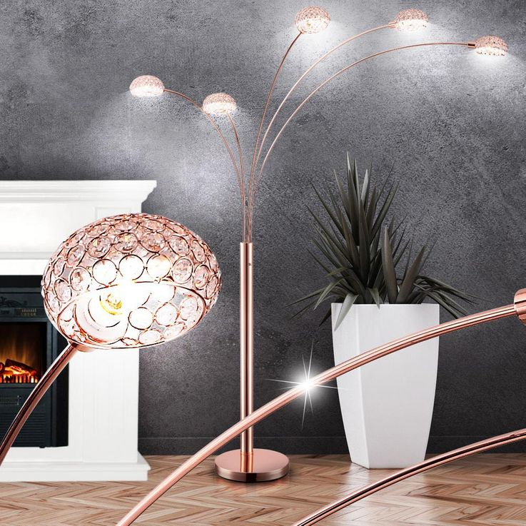 Practical floor lamp metal copper colour, base copper-coloured - Globo NEWCASTLE 58228SCK – Bild 3