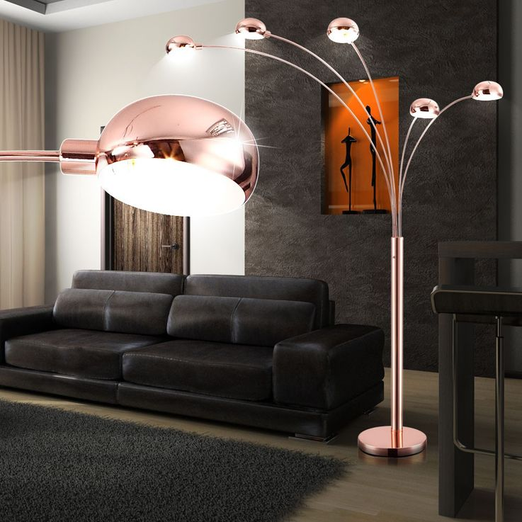 Stand stand lamp living room dining room lamp 5-lamp switch copper antique Globo 58228SC – Bild 2
