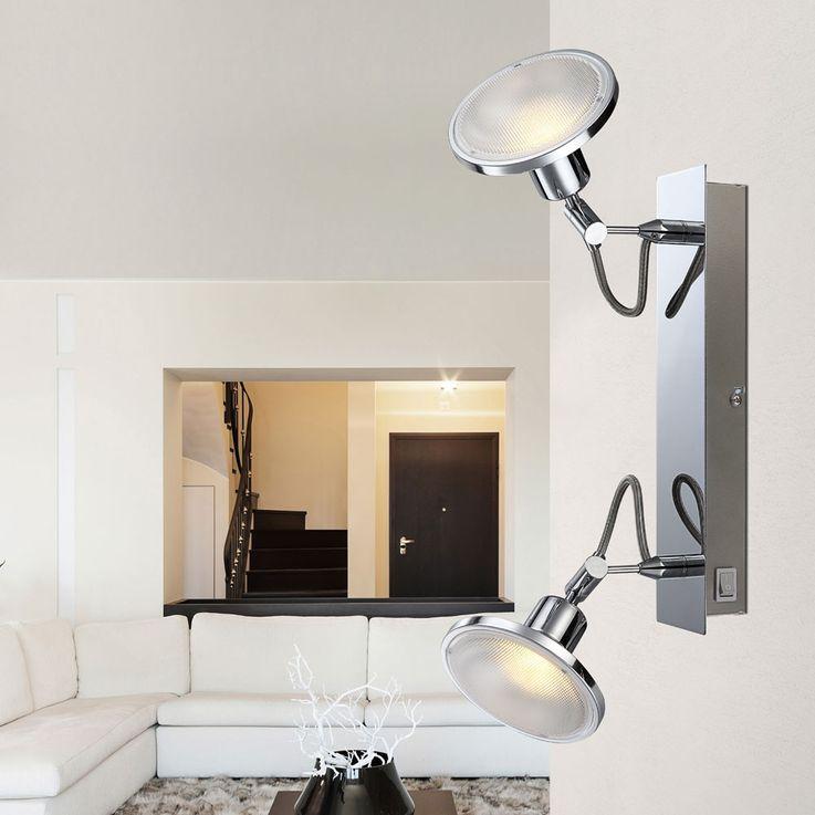 Plafonnier LED chromé éclairage de chambre à coucher résidentielle ALU spot spot réglable  Globo 56953-2 – Bild 3