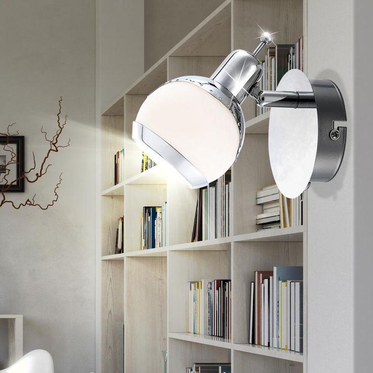 Spot mobile applique luminaire mural chrome verre opale blanc anneau couloir – Bild 2