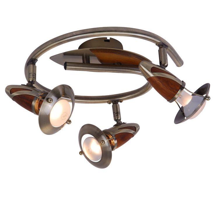 Traditional wood Spotlights Living room lighting Lighting Ceiling altmessing spirale Globo 5435-3 – Bild 1