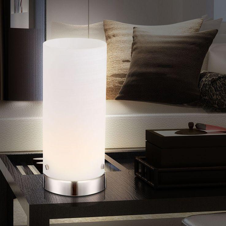 LED Tisch living room lamp nickel matte glass white stripes 4 Watt Globo 21926 – Bild 2