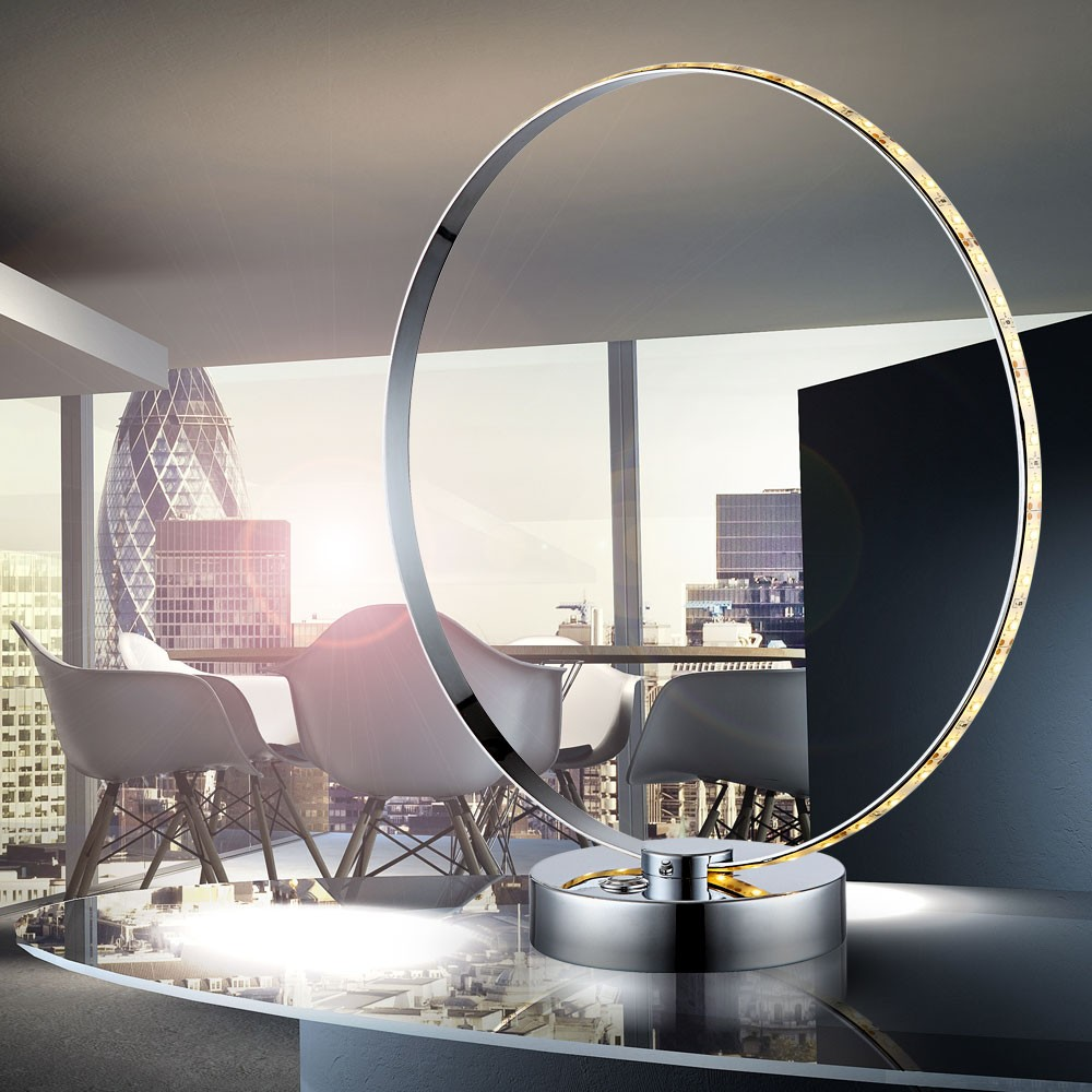 led tischleuchte in ringform aus chrom ring lampen m bel r ume wohnzimmer. Black Bedroom Furniture Sets. Home Design Ideas