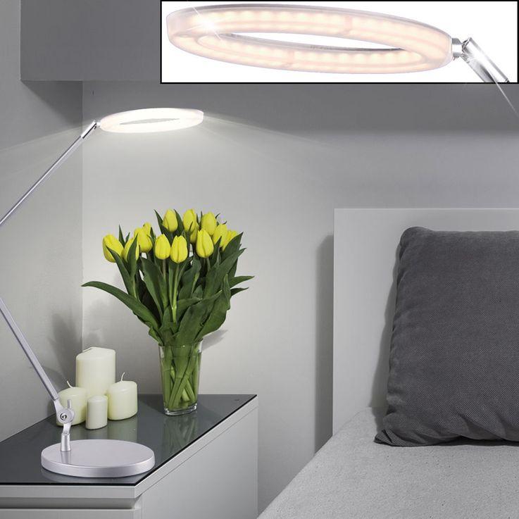 7 Watt LED Tisch Leuchte silber satiniert Lese Lampe Schalter Beleuchtung EEK A Globo 58383 – Bild 2