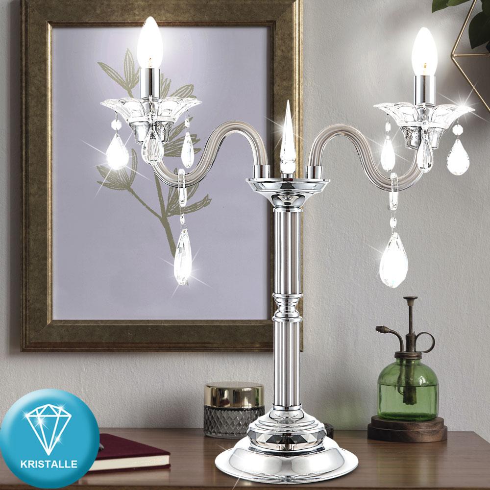 Kerzen Ständer Tisch Lampe Wohn Raum Beleuchtung Chrom Leuchte Kristall Strahler