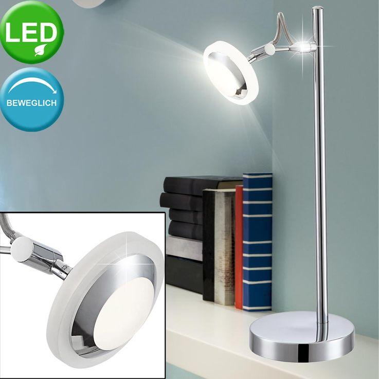 Luxus LED Tisch Lampe Gäste Schlaf Zimmer Strahler Alu Chrom Leuchte schaltbar Globo 56955-1T – Bild 2