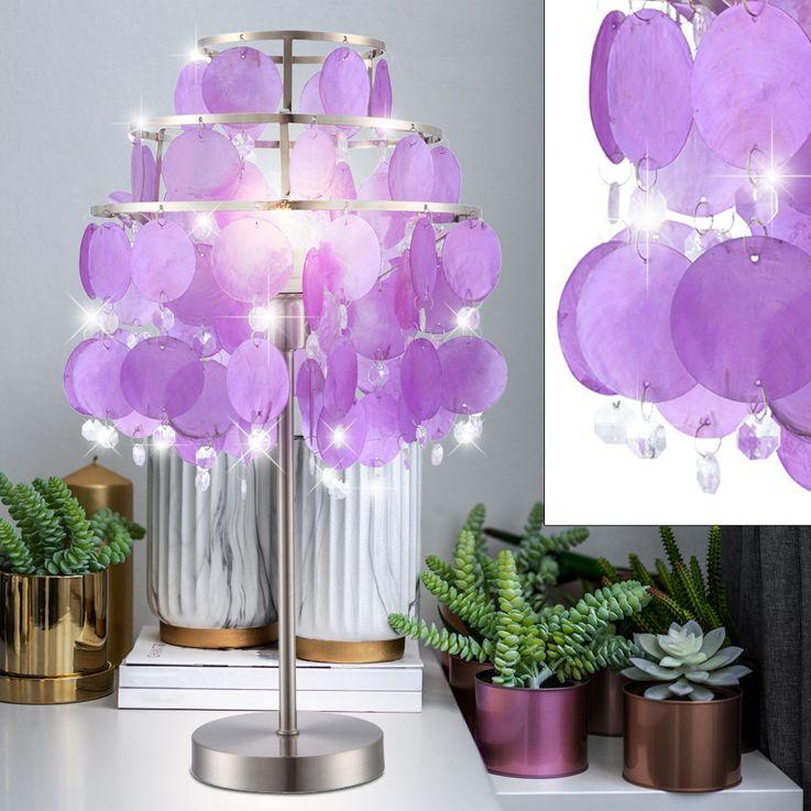 Design table lamp purple nickel switch illumination shell curtain Globo 16101T – Bild 2