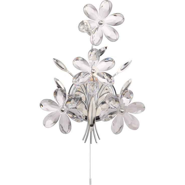 Applique murale cristal fleurs design salon eclairage chrome lampe de vestibule clear  Globo 5137 – Bild 1