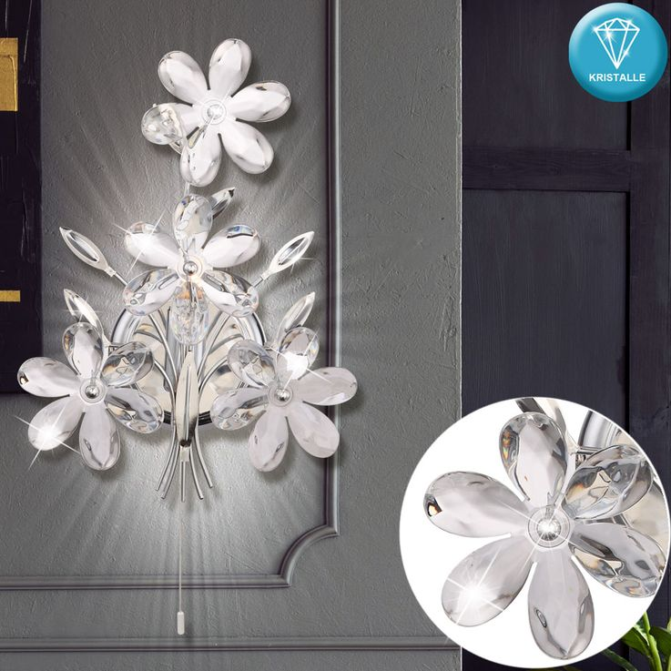 Applique murale cristal fleurs design salon eclairage chrome lampe de vestibule clear  Globo 5137 – Bild 2