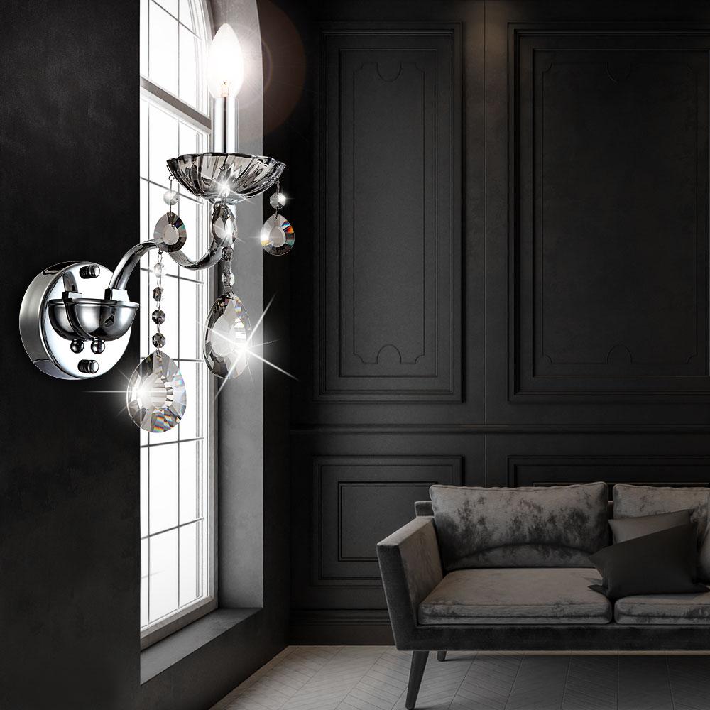 luxus wand leuchte esszimmer flur lampe chrom strahler. Black Bedroom Furniture Sets. Home Design Ideas