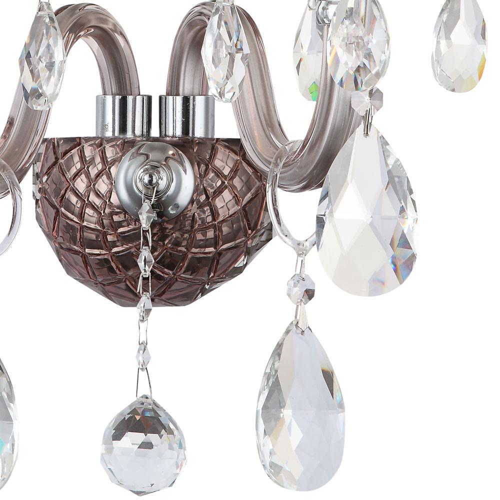 Vintage Stil Wand Kronleuchter Glas Kristalle Design Schlaf Zimmer Chrom Lampe