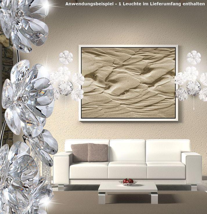 Wand Leuchte Chrom Acryl Blüten Schalter Wohnzimmer Lampe Blätter Globo 51538-1W – Bild 4