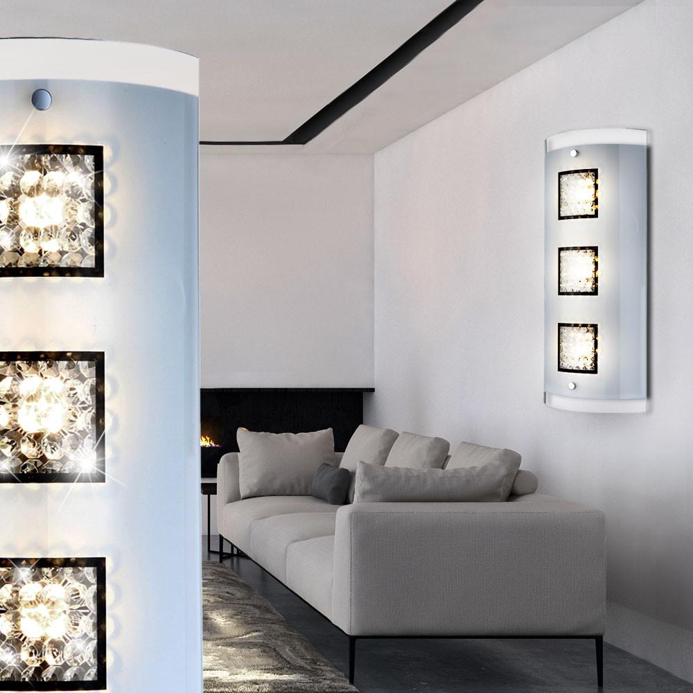 15W LED Luxus Design Wand Lampe Kristalle Chrom Glas klar Büro Diele Wohn Zimmer